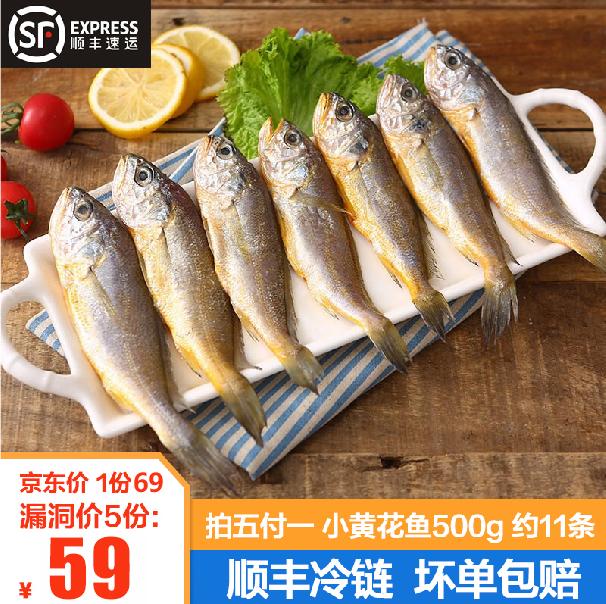 山东新鲜活冻渤海湾小黄花鱼小黄鱼500g袋装 约11条